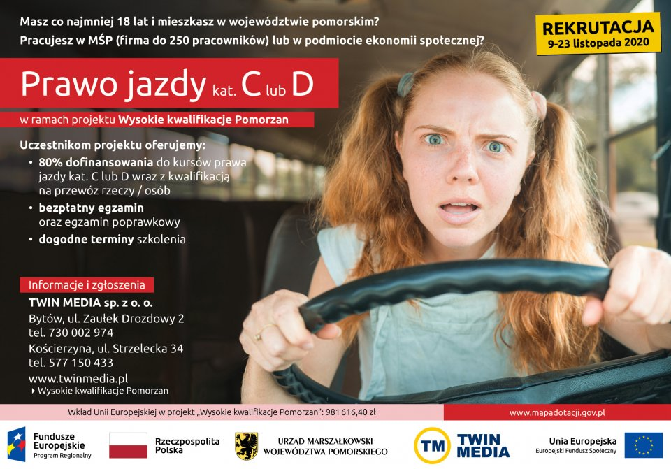 Plakat dotyczący dofinansowania prawa jazdy kategorii C lub D
