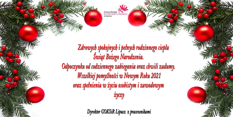 Kartka z życzeniami bożonarodzeniowymi. Na białym tle wokół znajduje się girlanda z czerwonymi bombkami
