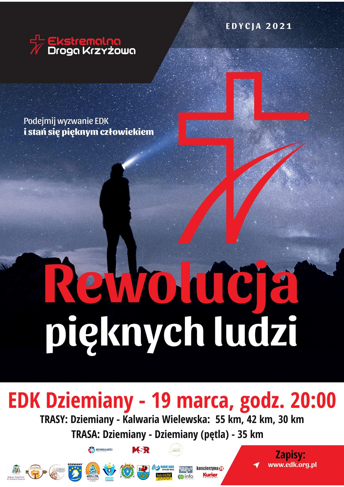 Plakat Ekstremalna Droga Krzyżowa -edycja 2021 19 marca 2021 roku start 20:00. Zapisy www.edk.org.pl