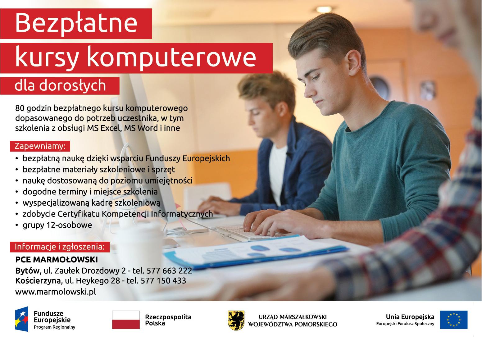 Plakat Bezpłatne kursy komputerowe dla dorosłych