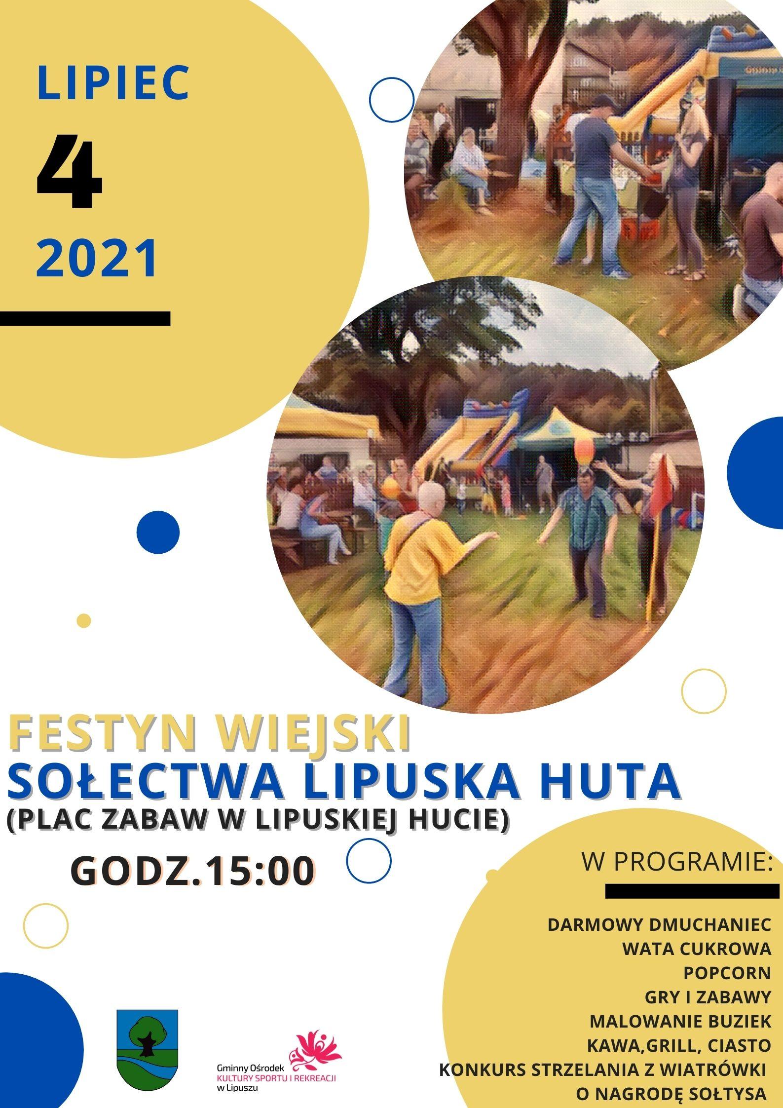 Festyn Wiejski Sołectwa Lipuska Huta (plac zabaw w Lipuskiej Hucie) godz.15:00