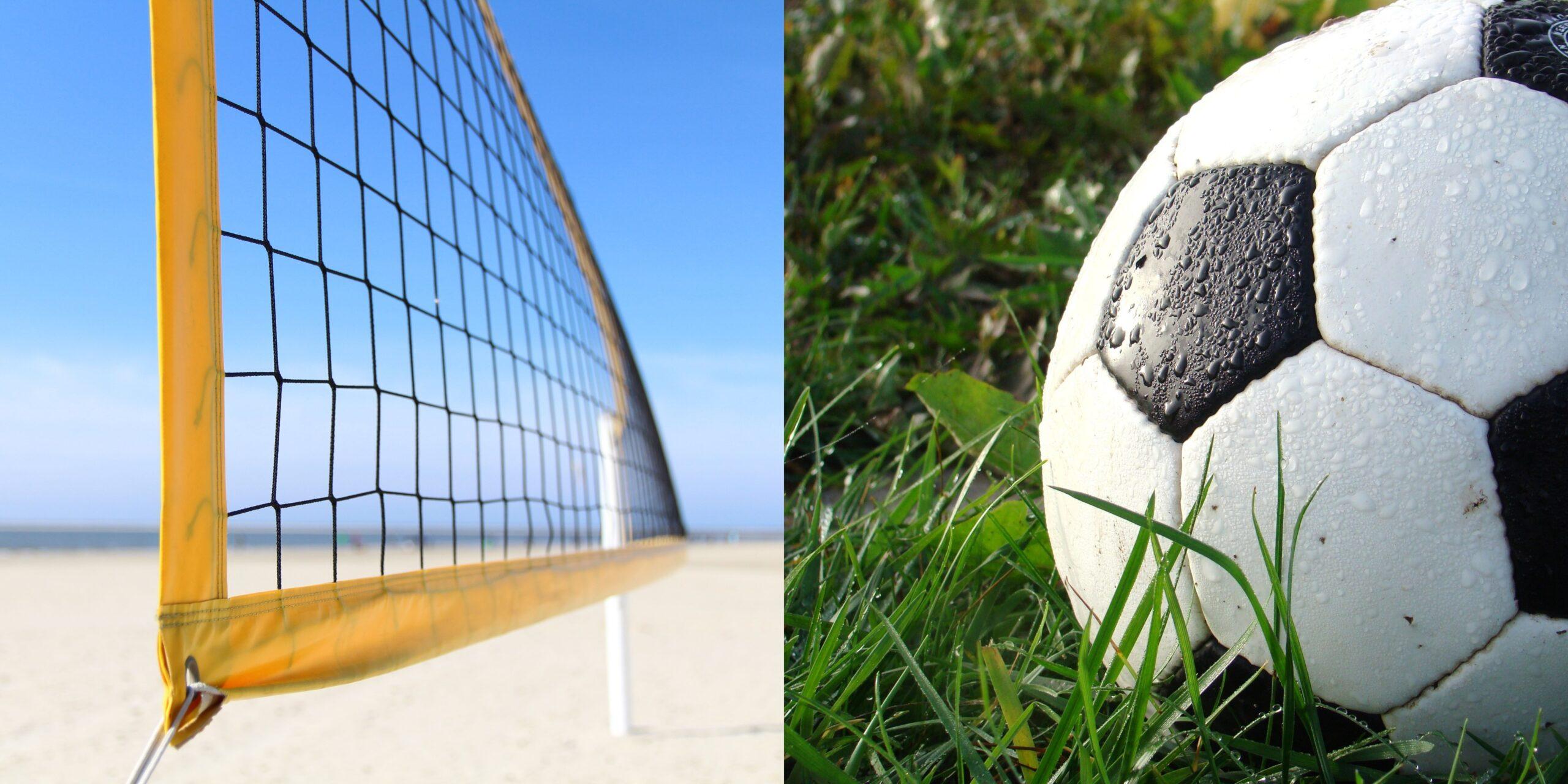 widać siatkę do siatkówki plażowej oraz piłkę na trawie