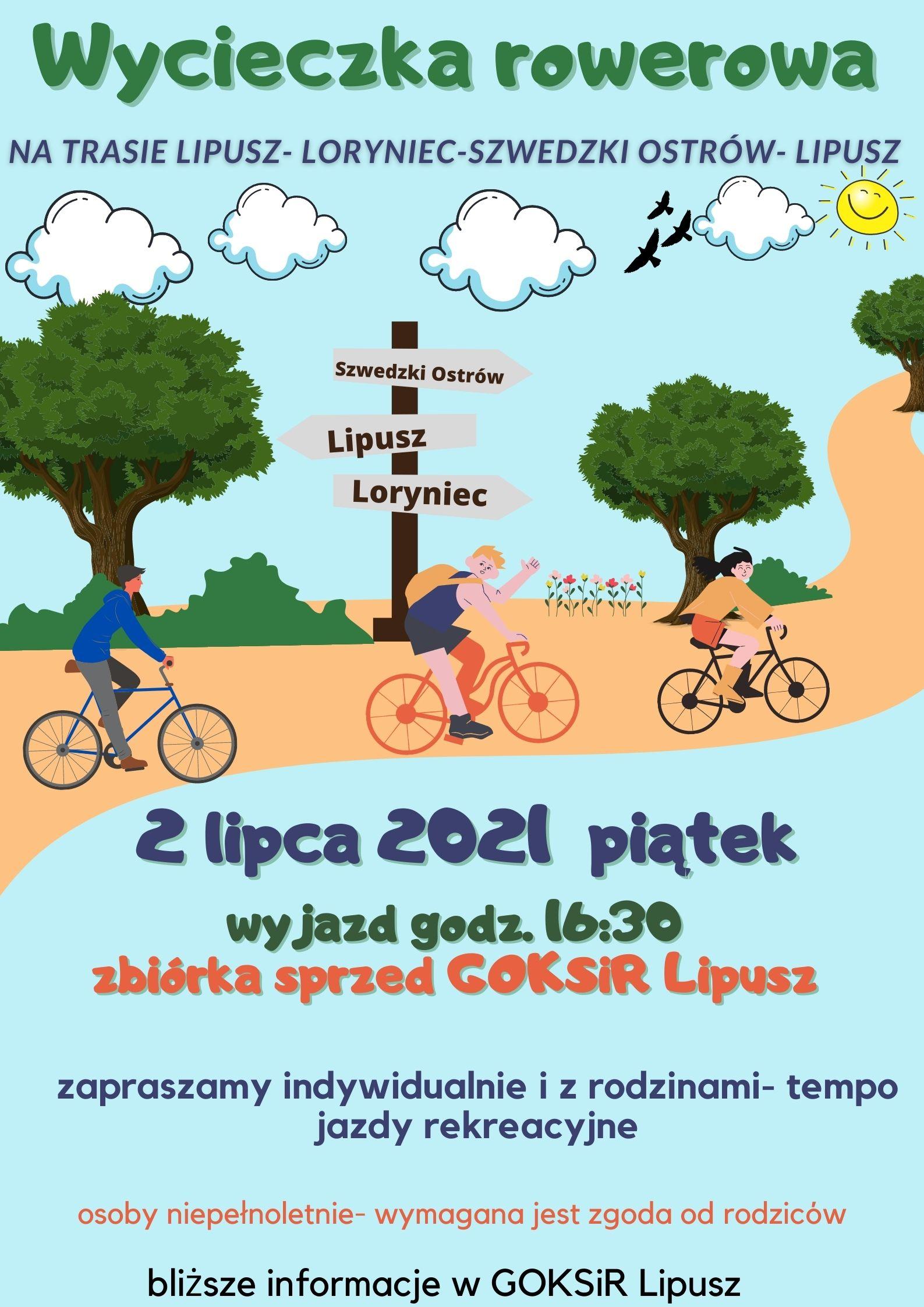 Wycieczka rowerowa lipusz-loryniec-szwedzki ostrów